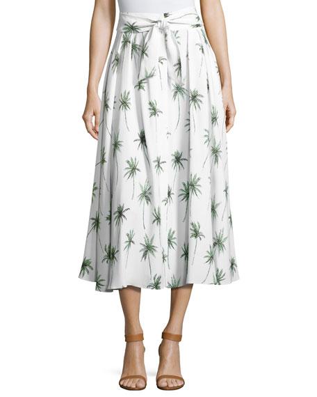 Milly Palm Tree-Print Italian Cady Midi Skirt