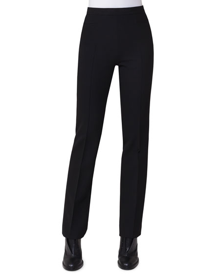 Francoise Slim-Straight Pants, Black