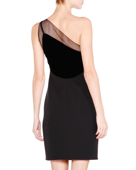 One-Shoulder Velvet-Trimmed Dress, Black