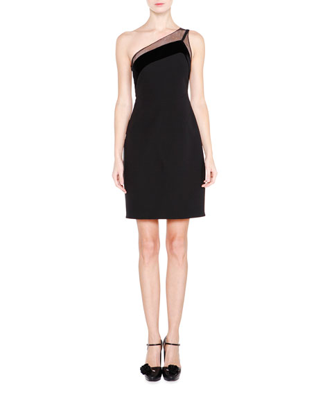Giorgio Armani One-Shoulder Velvet-Trimmed Dress, Black