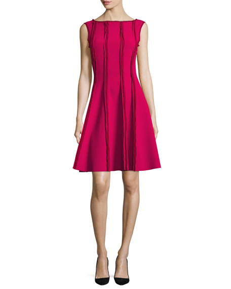 Sleeveless Frayed Stretch-Crepe Dress, Raspberry