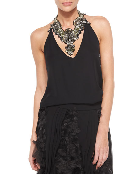Haute Hippie Silk Halter Top, Black