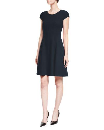 Cap-Sleeve Fit-&-Flare Dress, Navy