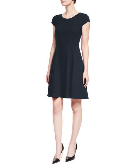 Armani Collezioni Cap-Sleeve Fit-&-Flare Dress, Navy