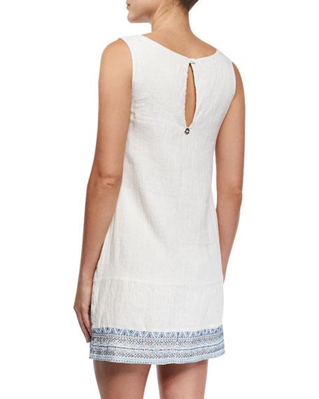Embellished-Embroidery Linen Shift Dress