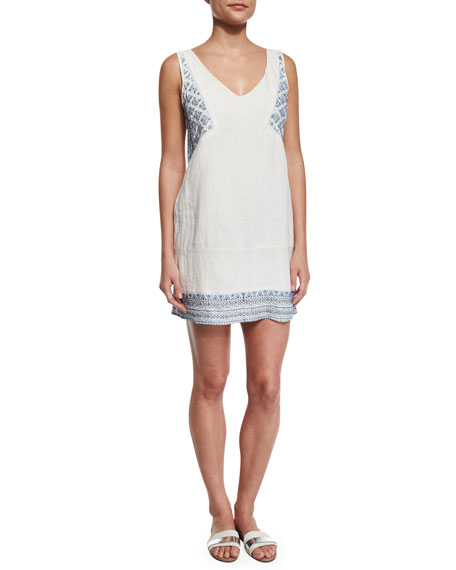 Embellished-Embroidery Linen Shift Dress