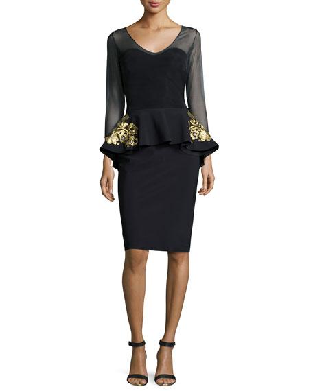 Chiara Boni La Petite Robe 3/4-Sleeve Embroidered Peplum