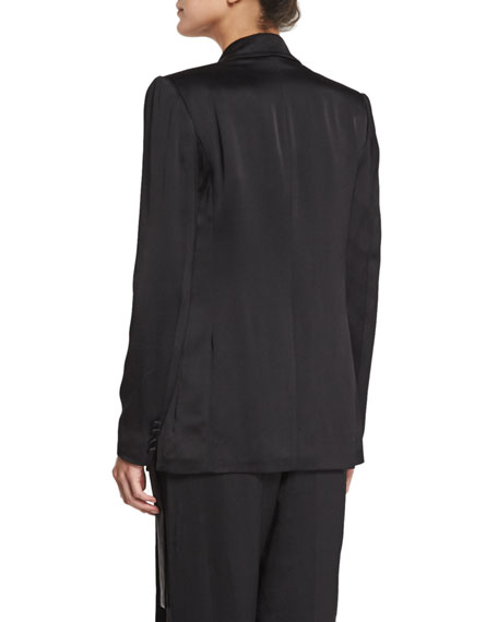 Notched-Collar Waist-Tie Jacket, Black