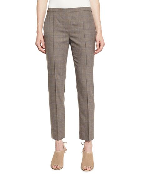 Elie Tahari Karis Plaid Stretch-Wool Slim Trousers, Chicory