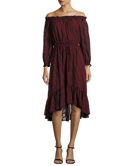 Ruffle Drawstring High-Low Dress, Burgundy/Baez