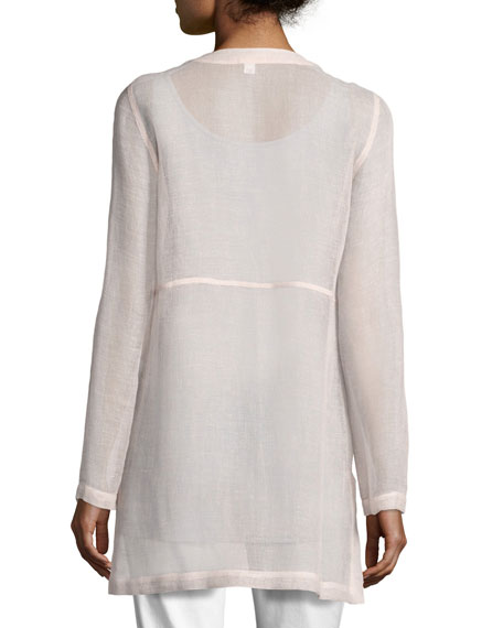 Woven Linen Mesh Round-Neck Top, Opal, Plus Size