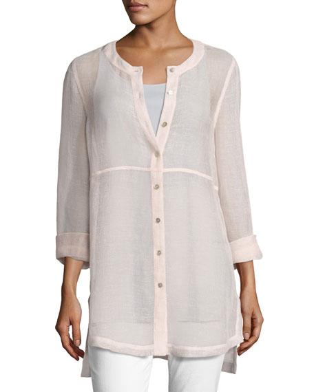 Eileen Fisher Woven Linen Mesh Round-Neck Top, Opal,