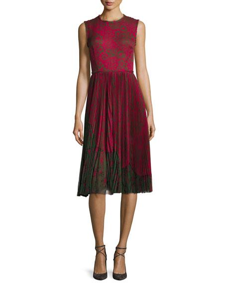 Lace-Print Sleeveless Pleated Dress, Raspberry