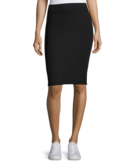 Pull-On Knit Tube Skirt, Black