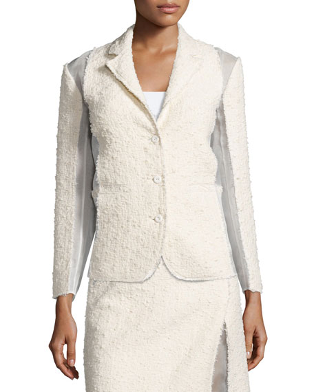 Textured Combo Jacket, Silk White