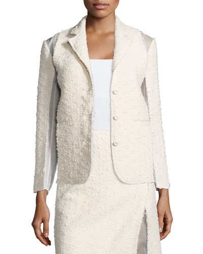 Textured Combo Jacket, Silk White