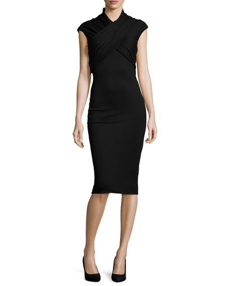 Alexander McQueen Crisscross High-Neck Sheath Dress