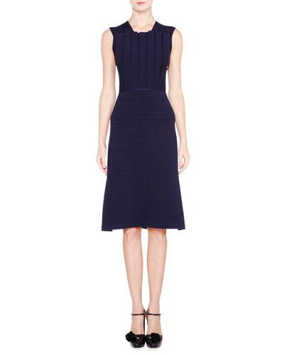 Sleeveless Plisse-Bodice Knit Dress, Navy