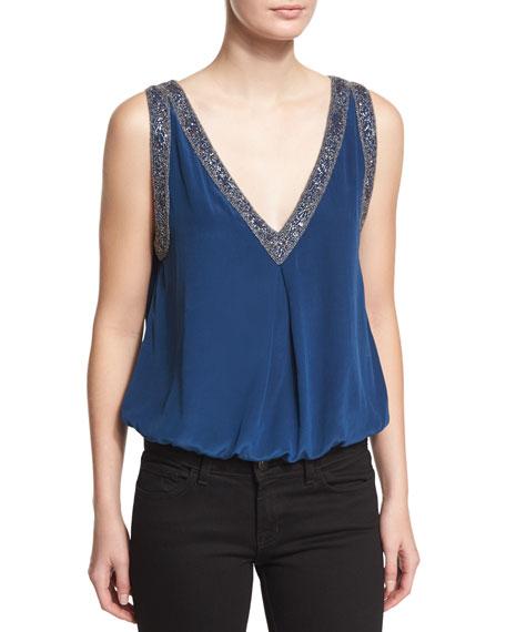 Joie Adsila Embellished-Trim Silk Top