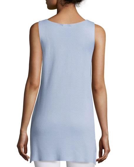 Long Silk/Cotton Interlock High-Low Shell, Plus Size