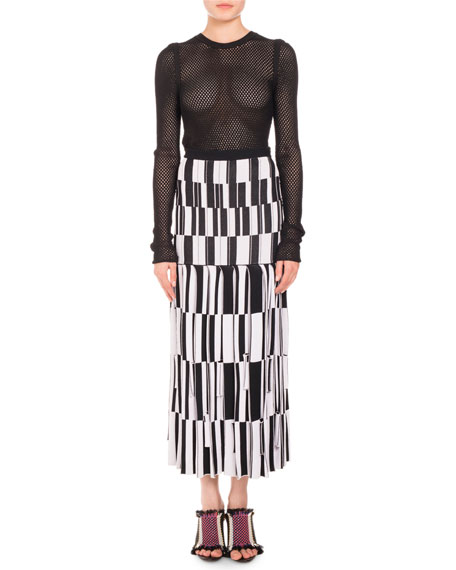 Knit Skirt-Pleated Jacquard