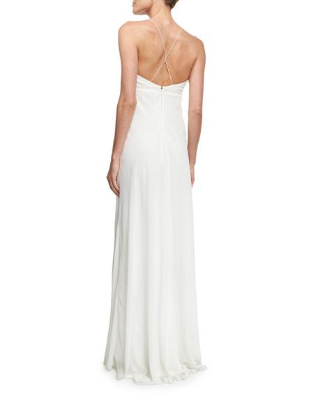 V-Neck Chiffon Empire-Waist Bias Gown, Ivory