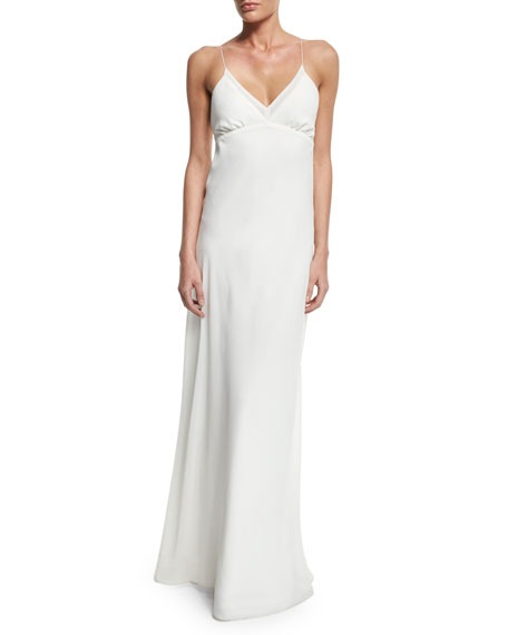 Erin Fetherston V-Neck Chiffon Empire-Waist Bias Gown, Ivory