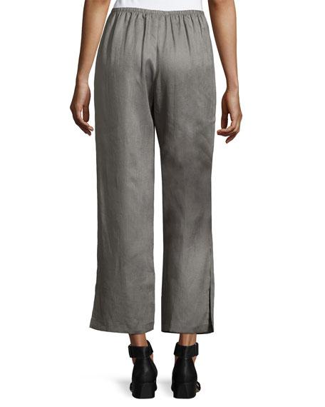 Tissue Linen Wide-Leg Pants, Petite