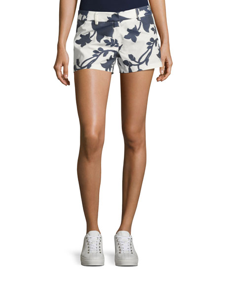 Milly Dickies Floral-Jacquard Shorts, Navy