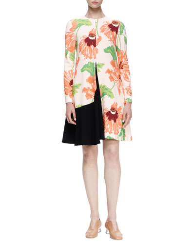 Emma Long-Sleeve Floral-Print Dress, Rose