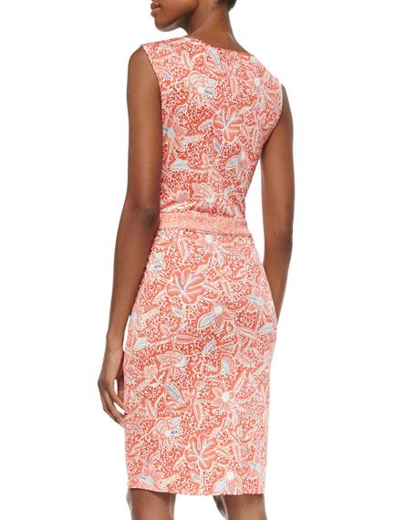 Sleeveless Printed Silk Interlock Sheath Dress