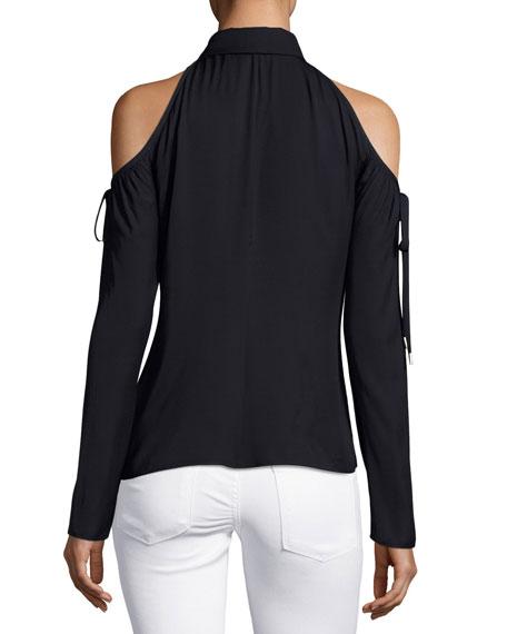 Button-Front Cold-Shoulder Blouse