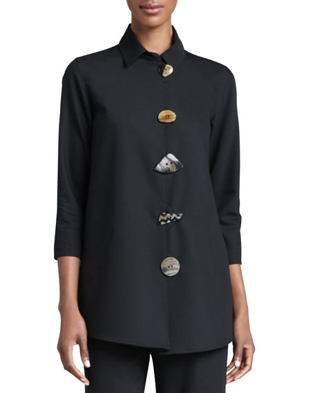 CAROLINE ROSE Stretch-Gabardine Travel Jacket, Petite in Black