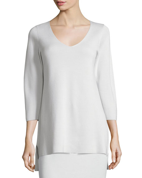 Eileen Fisher 3/4-Sleeve V-Neck Interlock Tunic, Bone, Plus