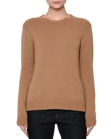 Long-Sleeve Knit Cashmere Sweater