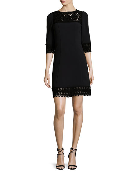 Andrew Gn 3/4-Sleeve Lace-Trim Dress, Black