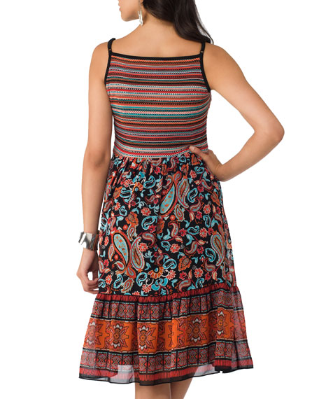 Fit-and Flare Print Dress, Black
