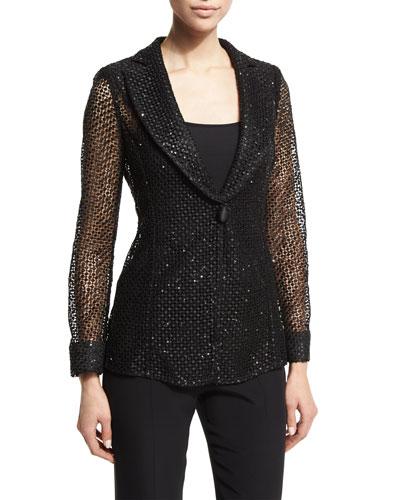 Embellished One-Button Macrame Jacket, Black