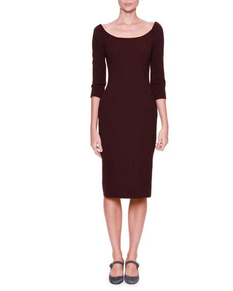 Dolce & Gabbana 3/4-Sleeve Crepe Sheath Dress, Eggplant