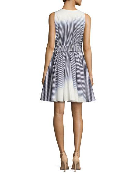 Lola Sleeveless Ombre-Striped Dress, Navy