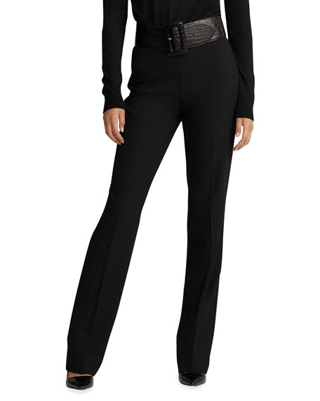 Ralph Lauren Collection Alandra Side-Zip Stretch-Wool Pants,