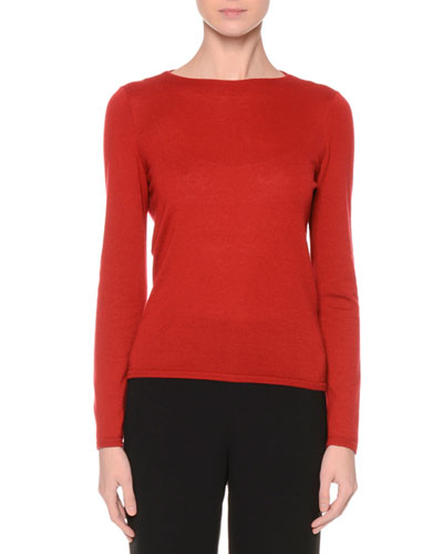 Blouson-Back Cashmere Sweater, Red