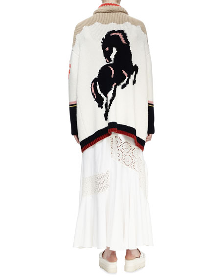 Horse-Print Intarsia Cardigan Sweater, Multi Colors