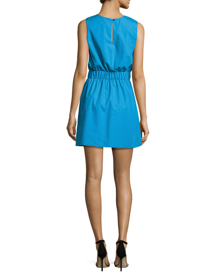 Ana Sleeveless Stretch-Poplin Dress, Blue