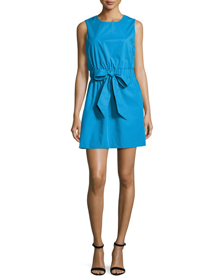 Milly Ana Sleeveless Stretch-Poplin Dress, Blue