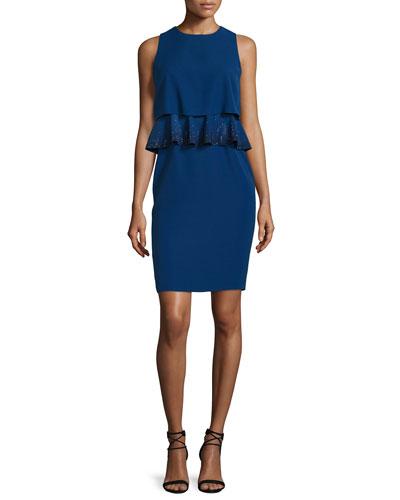 Embroidered-Peplum Popover Dress  Royal Blue