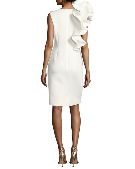 Sleeveless Ruffle-Trim Crepe Sheath Dress