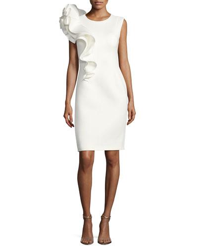 Sleeveless Ruffle-Trim Crepe Sheath Dress