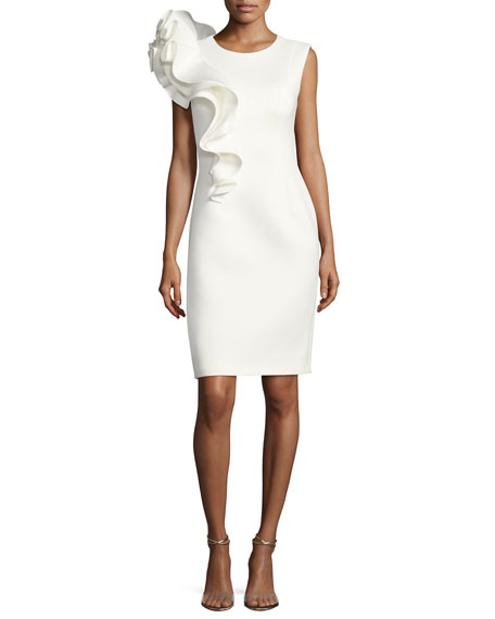 Jovani Sleeveless Ruffle-Trim Crepe Sheath Dress