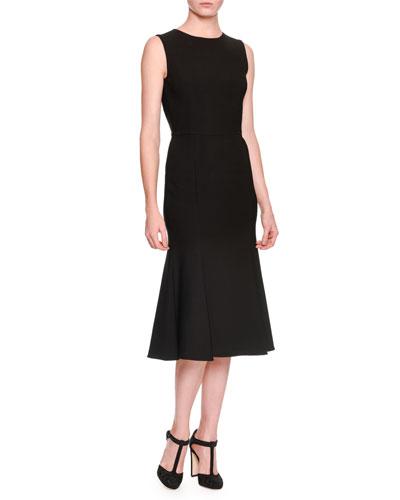 Sleeveless Open-Back Dress, Black